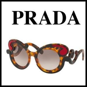 Prada Minimal Baroque Brown Havana Sunglasses